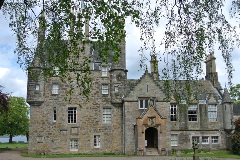 Front shot of Lauriston Castle in Edinburgh, Scotland.