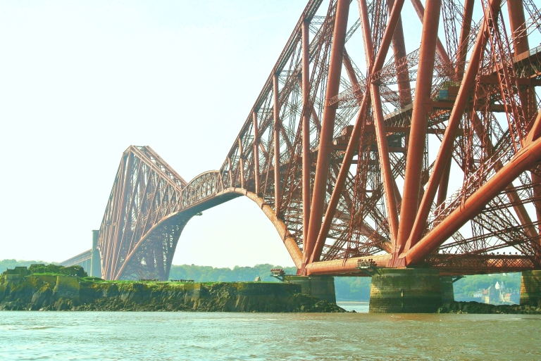 The red Forth Bridge.
