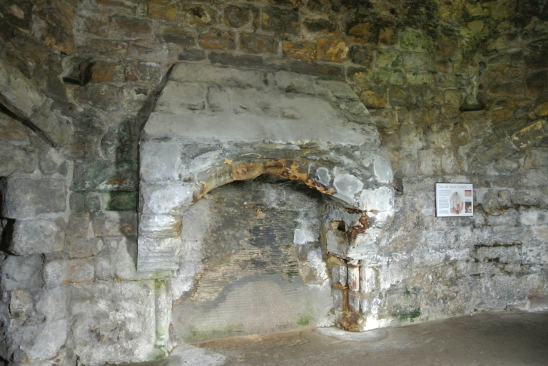 A castle fireplace.