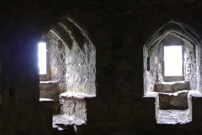 Castle windows with stone seating.