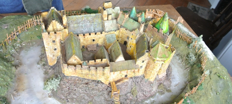 A model of Dirleton Castle.