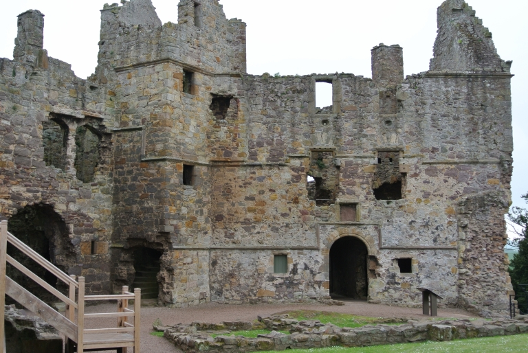 Exterior view of Dirleton Castle.