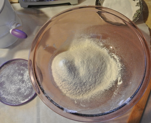 Flour in a bowl.