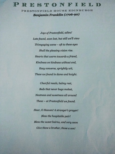 A poem written by Benjamin Franklin about Prestonfield House.