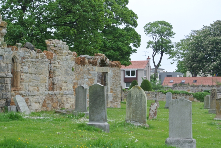 Old graves in a kirkyard.