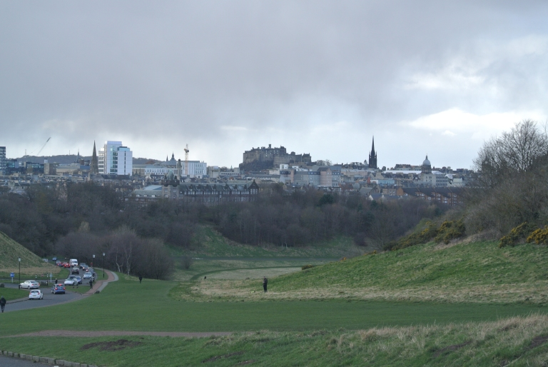 A distant view of Edinburgh Castle.