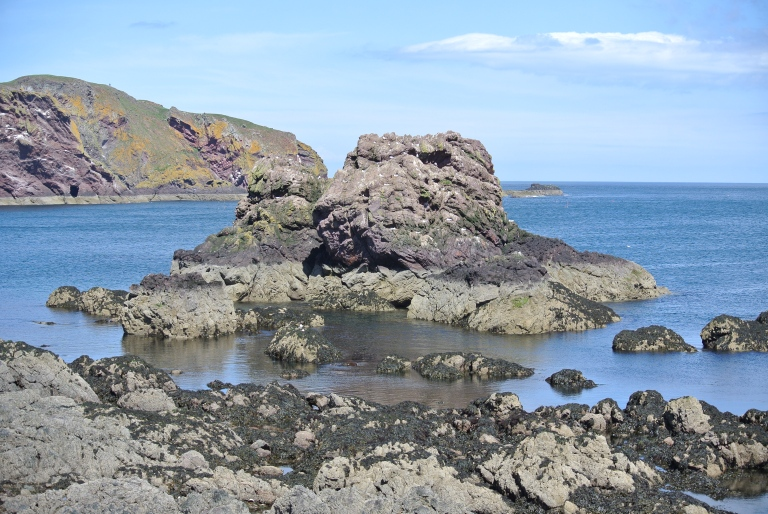 The North Sea and volcanic rock.