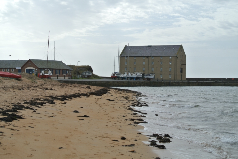 The original grain store for Elie, Scotland and docked boats.